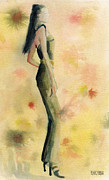 Illustration Prints - Woman in a Green Jumpsuit Fashion Illustration Art Print Print by Beverly Brown Prints