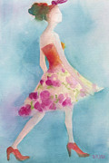 Watercolors Paintings - Woman in a Pink Flowered Skirt Fashion Illustration Art Print by Beverly Brown Prints