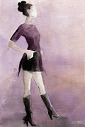 Fashion Art Prints Paintings - Woman in a Plum Colored Shirt Fashion Illustration Art Print by Beverly Brown Prints