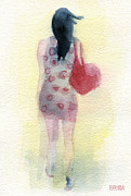 Waiting Room Prints - Woman in a Polka Dot Dress Print by Beverly Brown Prints