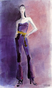 Fashion Paintings - Woman in a Purple Jumpsuit Fashion Illustration Art Print by Beverly Brown Prints