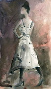 Style Paintings - Woman in a White Dotted Dress Fashion Illustration Art Print by Beverly Brown Prints