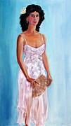 Woman In A Dress Posters - Woman in a White Dress Holding a Fan Poster by Asha Carolyn Young