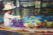 Bangkok Paintings - Woman in Bangkok by Susan Zavadil
