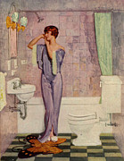 Clothes Clothing Drawings - Woman In Bathroom 1930s Uk Cc Cc by The Advertising Archives
