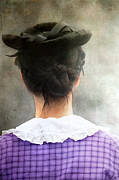 Brunette Prints - Woman in Black Hat Print by Stephanie Frey