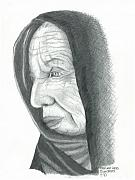 Pensive Drawings Originals - Woman in Black by Sharon Blanchard