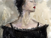 Austin Drawings - Woman in black watercolor portrait by Svetlana Novikova