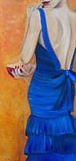 Red Wine Mixed Media - Woman in Blue by Debi Pople