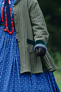 Knitted Dress Posters - Woman in Civil War Period Clothing Poster by Stephanie Frey