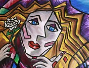 Woman In Cubism Print by Rebecca Schoof
