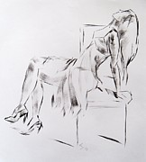 Chair Drawings Framed Prints - Woman in Dress on Chair Framed Print by Mike Jory