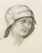 Woman In Hat, Detail From A Sketchbook Print by Sir Edward Coley Burne-Jones