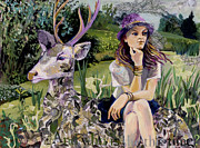 Tilly Strauss Mixed Media Metal Prints - Woman in hat dreams with stag Metal Print by Tilly Strauss