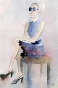 Watercolors Painting Posters - Woman in Plaid Skirt and Big Sunglasses Fashion Illustration Art Print Poster by Beverly Brown Prints