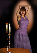 Evening Wear Digital Art Posters - Woman In Purple Gown with Candles Poster by Elle Arden Walby