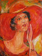 Becky Kim Painting Metal Prints - Woman in Red Hat Metal Print by Becky Kim