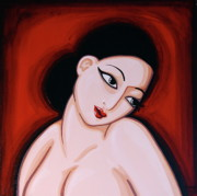 Senorita Framed Prints - Woman in Red Framed Print by Rebecca Mott