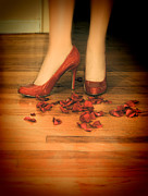 Break Up Prints - Woman in Red Shoes Standing on Rose Petals Print by Jill Battaglia