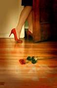 Break Up Prints - Woman in Red Stilettos Leaving a Rose on the Floor Print by Jill Battaglia
