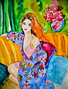 Lounging Framed Prints - Woman in Silk Kimono Framed Print by Colleen Kammerer