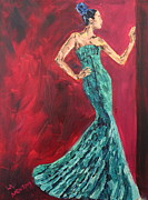 Gown Painting Originals - Woman in the Green Gown by Lee Ann Newsom