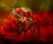Romantic Art Prints - Woman In The Poppy Hat Print by Carol Cavalaris