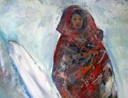 Afghanistan Paintings - Woman in the Snow by Patricia Taylor
