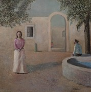 In Earth Tones Paintings - Woman in the Square by Rick Hildebrandt