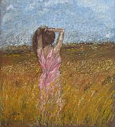 Wheat Pastels - Woman in Wheat Field by Sigalit Aharoni