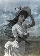 White Dress Digital Art - Woman in White Dress Holding Flowers and Tennis Racket by Digital Reproductions