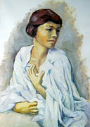 Satisfaction Originals - Woman in white painting by Alfons Niex
