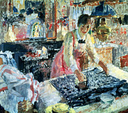 Chore Framed Prints - Woman Ironing Framed Print by Rik Wouters