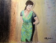 Leaning Pastels - Woman leaning against wall  by Cathy Jourdan