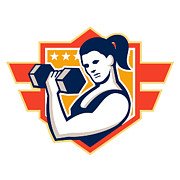 Training Prints - Woman Lifting Lifting Dumbbell Retro Print by Aloysius Patrimonio