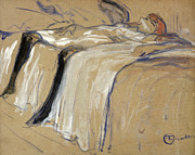 Head Pastels Posters - Woman lying on her Back Poster by Henri de Toulouse Lautrec