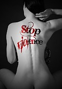 Strict Posters - Woman Move Tattoo Containing Stop Violent Poster by Paul Fearn