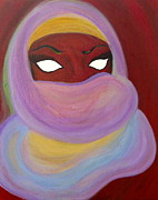 Hijab Paintings - Woman of Mystery by Joanna Benadrete