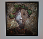 Mixed Media Reliefs Originals - Woman of the Omo Tribe by Walter Kenul