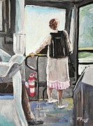 Peel Paintings - Woman on 107 Bus by Reb Frost