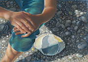 Birdseye Painting Posters - Woman on a Rocky Beach Poster by Nick Payne