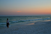 Karen Adams Metal Prints - Woman on Beach at Dusk Metal Print by Karen Adams