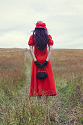 Red Bag Framed Prints - Woman On Field Framed Print by Joana Kruse