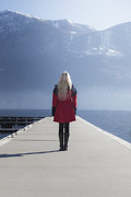 Blonde Framed Prints - Woman On Jetty Framed Print by Joana Kruse