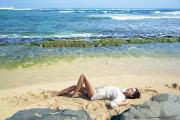 Featured Metal Prints - Woman on Kauai Beach Metal Print by Kicka Witte