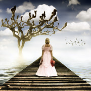 Elegant Bride Posters - Woman On Pier Poster by Joana Kruse
