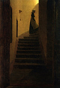 Mysterious Woman Paintings - Woman on the stairs by Caspar David Friedrich