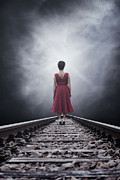 Haze Photo Prints - Woman On Tracks Print by Joana Kruse