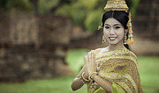 Dancer Art Photo Posters - Woman Performing Typical Thai Dance With Thai Style Temple Backg Poster by Anek Suwannaphoom