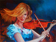 Oriental Style Paintings - Woman playing Violin  by Ahmed Bayomi